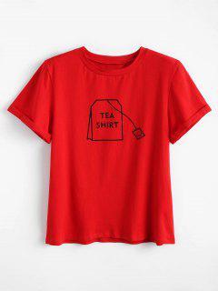Tabs Graphique Mignon T-shirt - Rouge Xl