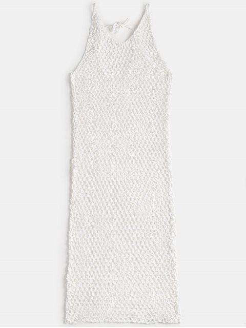 ladies V Neck Crochet Cover Up Dress - WHITE ONE SIZE Mobile