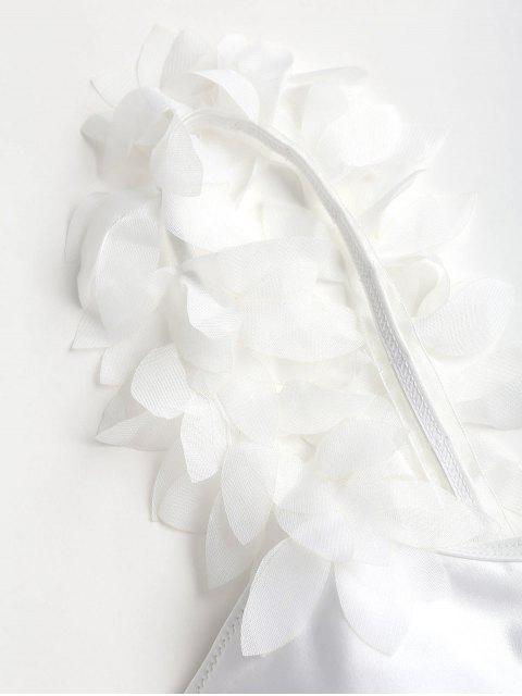 Traje de baño de una pieza de pétalo estéreo - Blanco L Mobile