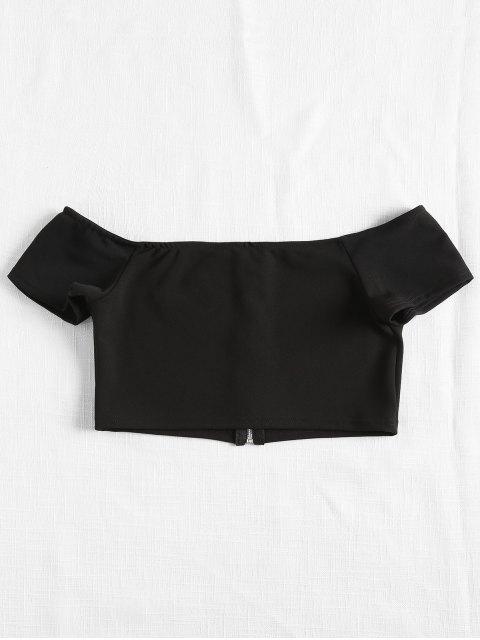 new Off The Shoulder Zipper Crepe Crop Top - BLACK M Mobile