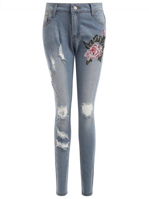 Bestickte Authentisch Denim Gerippte Dünne Jeans - Helles Blau XL  Mobile