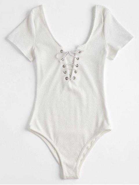 Body con cordones de manga corta y ribete - Blanco XL Mobile