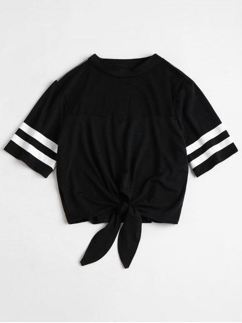 women's Contrast Striped Sleeve Mesh Yoke Tee - BLACK S Mobile