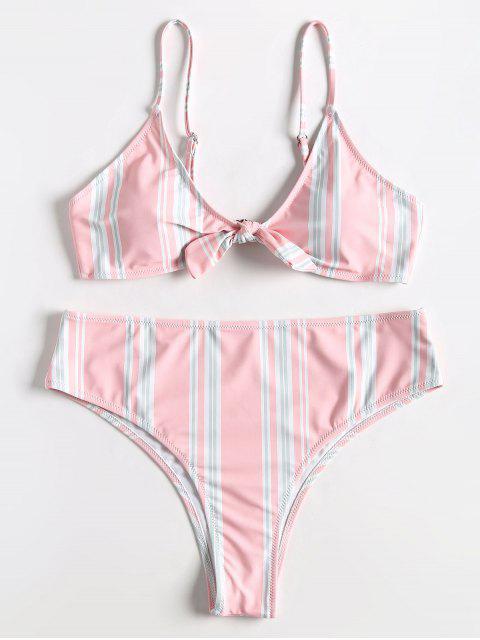 Conjunto de bikini de talle alto con lazo Bowtie de rayas grandes - Rosa Claro 2X Mobile