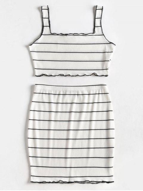 chic Striped Crop Top and Skirt Suit - WHITE L Mobile