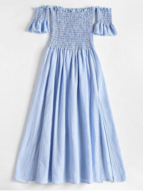 Robe Mi-longue Smockée Fendue à épaules Dénudées - Bleu Léger  L Mobile