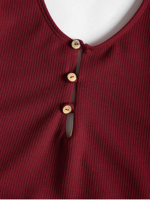 Botones de textura acanalada traje de baño de corte alto - Vino Tinto S Mobile