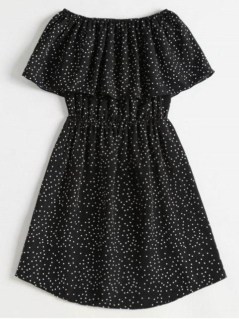 women Polka Dot Off The Shoulder Overlay Dress - BLACK L Mobile