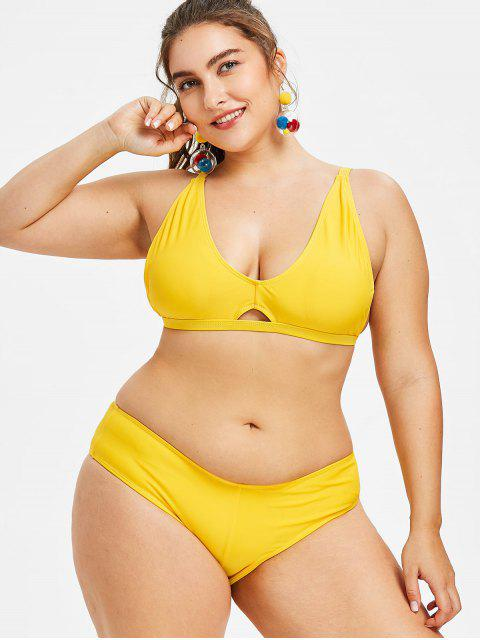 Bikini Plongeant Grande Taille à Bretelles - Jaune L Mobile