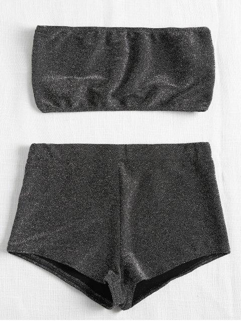 Conjunto de top y pantalón corto brillante de Bandeau - Gris Carbón L Mobile