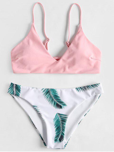 Conjunto de bikini acolchado con estampado de hojas - Rosa Claro L Mobile