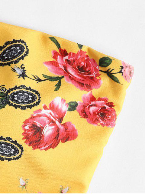 Bikini Bandeau en Ensemble Floral de Taille Haute - Jaune Clair L Mobile