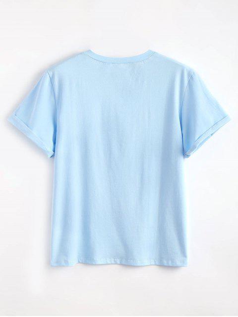 Tabs graphique mignon T-shirt - Bleu Ciel Léger  L Mobile