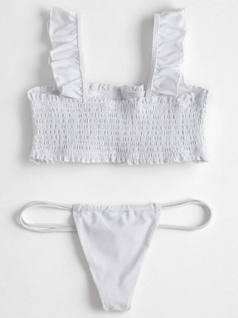 Rüschen Smocked Bikini Top mit Thong Badehose - Weiß L Mobile