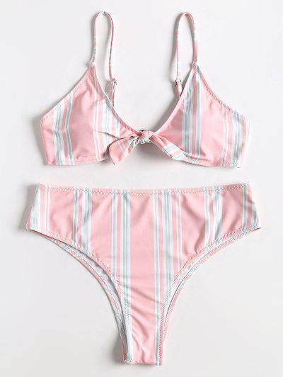 8688610ac525b Plus Size Striped Bowtie High Rise Bikini Set - Light Pink 1x