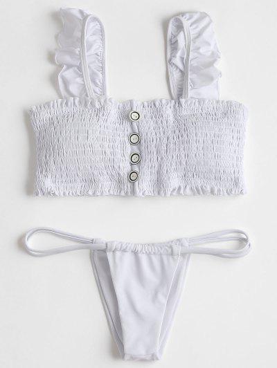 Ruffles Smocked Bikini Top With Thong Bottoms - White L