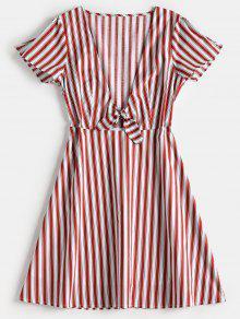 فستان توهج مخطط - الكرز الاحمر L