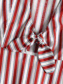 Cereza Pliegues S Vestido Rojo Rayas Con A qWCa6