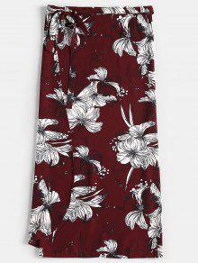 تنورة لف طباعة الأزهار - نبيذ احمر