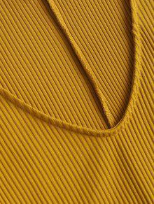 Brillante Larga Patinador Manga M Amarillo Cuello En Con V Vestido x1qdvw8Yv