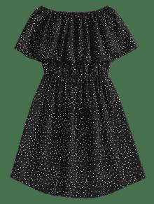 Superpuesto Hombro Xl Negro A Vestido Sobre Lunares El qXXRwzI