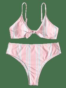 Talle De Rosa Lazo Conjunto L Grandes De Bikini Con De Claro Bowtie Alto Rayas PqxPtf8SwY
