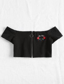 Top The Crop Crepe Zipper M Shoulder Negro Off Bnapqa