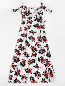 فستان ماكسي طباعة كشكش لف - أبيض S