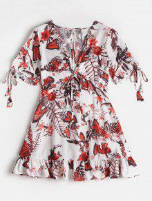 Vestido Blanco Mini 233; L Cuello De Floral Plunge T dfnxZza