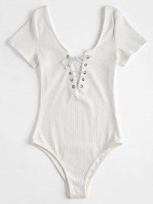 الأكمام قصيرة مضلع الدانتيل يصل ارتداءها - أبيض S