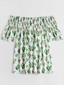 Con Descubiertos De Hombros Estampado Vestido Cactus S Deshilachado Blanco I1wYqYxf65