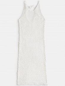 الخامس الرقبة الكروشيه التستر اللباس - أبيض