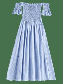 Vestido Con Media Pierna Y A Rasgados S Descubiertos Hombros Azul Claro rSqrO6
