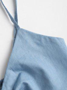 Jeans Chambray L Crop Knotted Bralette Top Cami Azul De xAnOvA0qwS