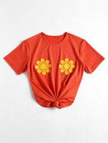 Camiseta Con Estampado De Girasol Con Cuello Redondo - Naranja Impactante L