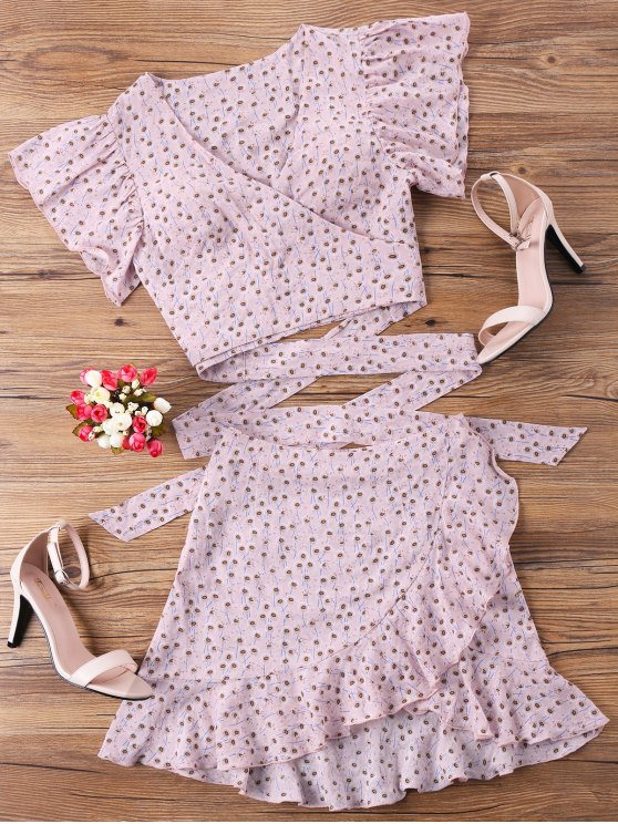 fancy Wrap Top and Skirt Set - PINK S