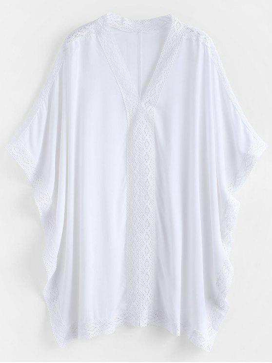fancy Kaftan Beach Top - WHITE ONE SIZE