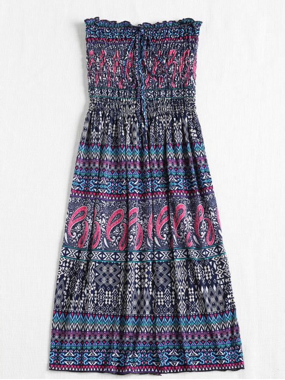 outfits Smocked Bodice Tribal Strapless Midi Dress - BLUE WHALE ONE SIZE