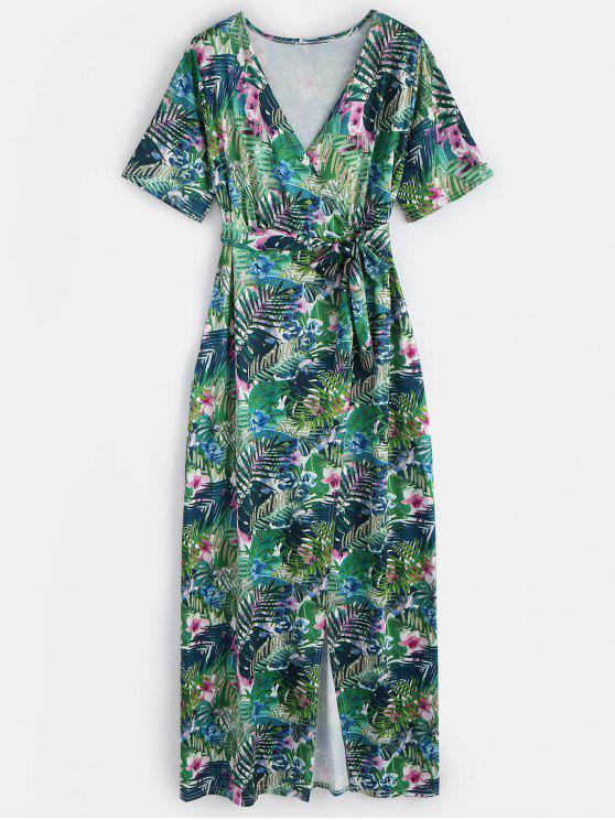 trendy Floral Surplice Slit Maxi Dress - GREEN M