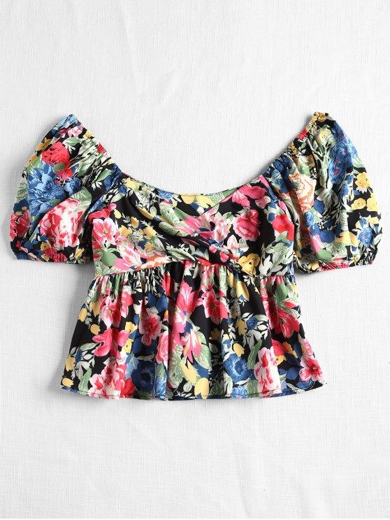 fancy Puff Sleeved Floral Peplum Sweetheart Blouse - MULTI S