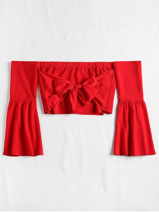 buy Off The Shoulder Bell Sleeve Crop Top - LOVE RED XL