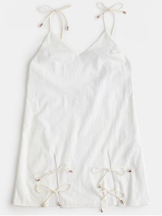 فستان مفتوحة الظهر بلون واحد - أبيض XL