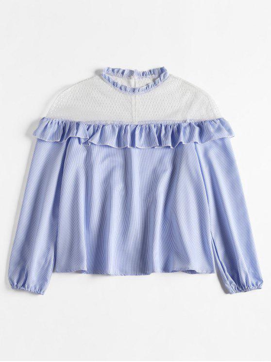 women's Mesh Yoke Striped Ruffled Blouse - LIGHT SKY BLUE L