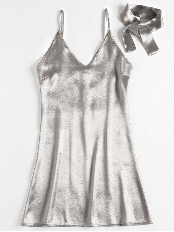 unique Back Zipper Satin Party Mini Dress - SILVER S