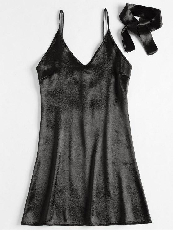 womens Back Zipper Satin Party Mini Dress - BLACK S