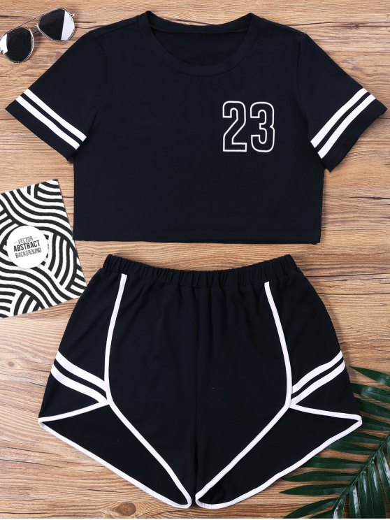 outfits Contrast Binding Notch Shorts Two Piece Set - BLACK M