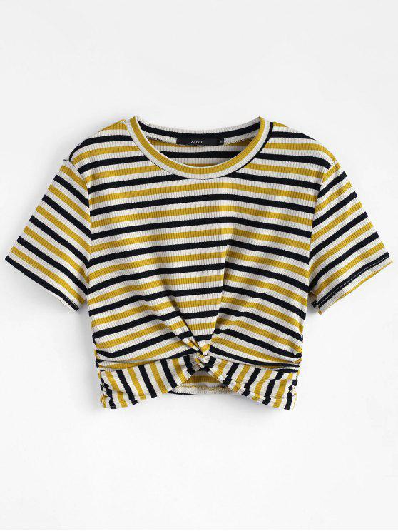 unique Striped Twist Knitted Tee - MULTI S