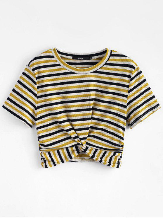 T-Shirt In Maglia A Righe A Torsione - Multi Colori L