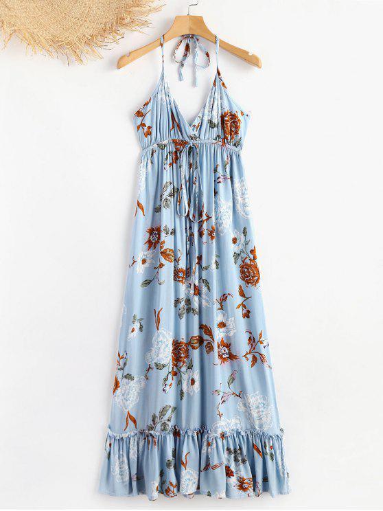 الرسن الأزهار الكشكشة اللباس الصيفي - جينز ازرق M