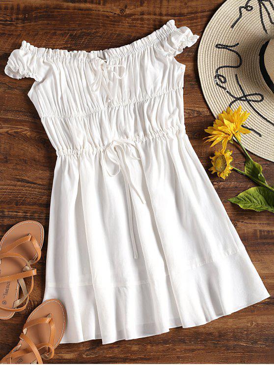 Fora do ombro mini vestido de sol - Branco M